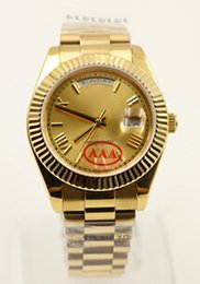 Wholesale Golden Mark - New Luxury Brand Fashion Watches Golden Face Golden Case Sapphire Mark Automatic watch Mechanical Gents Watch