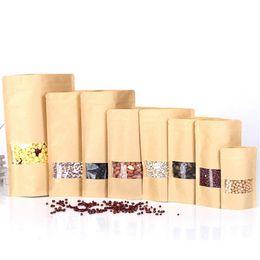 Wholesale Grip Seal Bags - Stand up zip lock kraft paper bag , kraft food pacakging gift pouches, self-sealed kraft Grip Seal cookie gift bags