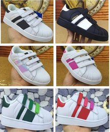 Wholesale Canvas Shoes For Boy Children - 2017 top Quality Superstar Head Sneakers Children casual shoes for kids boys sneakers and girls casual shoes EUR 25-EUR 35 free shipping