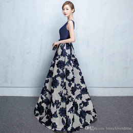 Wholesale Jacket For Tulle Dress - Navy V-Neck Elegant Prom Dresses 2017 Long Satin Evening Gowns For Women A-Line Floor Length Special Occasion Party Dress Cheap