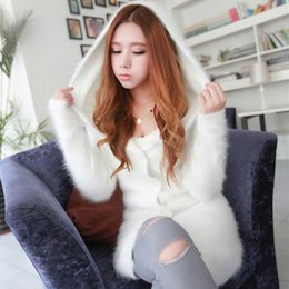 Wholesale New Mink Coats Women - Wholesale- 2016 new autumn and winter in the long haired mink cashmere coat mink cashmere sweater coat female hooded cardigan
