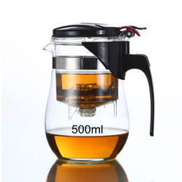 Wholesale glass strainer - Hot Sale 500ml 750ml 1000ml Water Bottle Heat Resistant Glass Tea Pot Flower Tea Set Coffee Teapot Bouteille