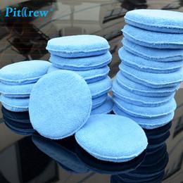 """Wholesale Microfiber Car Sponge - Wholesale- (10pieces lot) Car washer Blue Microfiber Wax Applicator Polishing Sponges pads 5"""" Diameter Sponges Car &Motorcycles Accessories"""