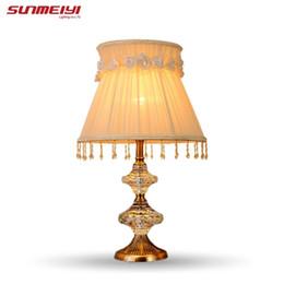 Wholesale Crystal K9 Table Lamp - Fashion ofhead k9 crystal table lamp luxury high quality crystal table lamp for bedroom lobby table lamp abajur de mesa lamparas