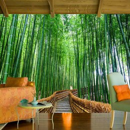 Wholesale Photography Backdrops For Kids - Custom 3D Photo Wallpaper Art Wall Green Bamboo Forest environmentally friendly Background Photography Backdrop Living Room Bedroom Non-wove