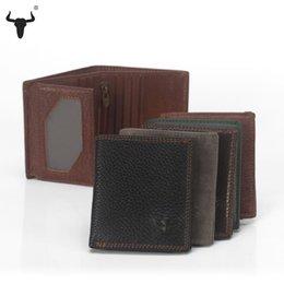Wholesale Grain Photos - Wholesale- Top Grain Leather Black Short Mini Wallets Mens Women Unisex Vintage Wallet Cowhide Mini Purse Zipper Pocket Card Photo Holder
