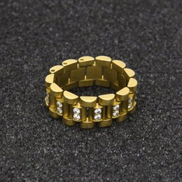 Wholesale Cubic Zirconia Watches - Hip Hop Men Stainless Steel Chain Ring Punk Style Gold Silver Three Row Watch Strap Golden Rings Fashion Party Jewelry