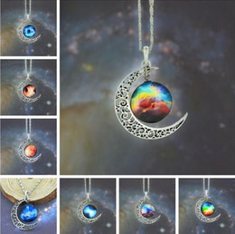 Wholesale Vintage Plastic Necklace - Chrismas Gift Mix Models High Quality Vintage Jewelry Starry Moon Outer Space Universe Gemstone Pendant Necklaces