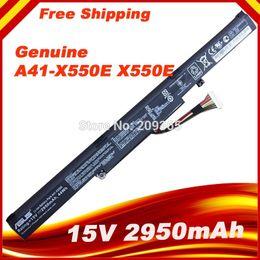 Wholesale Batteries For Asus - Wholesale- 15V 2950mAh Original New Laptop Battery A41-X550E for ASUS X450 X450E X450J X450JF X751L A450J A450JF A450E F450E 44WH 4CELLS