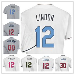 Wholesale Black Independence Day - Custom #12 Lindor White Father Mother Memorial Independence Day Stitched Any Name Number Mens Womens Kids Jerseys S-4XL