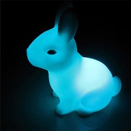 Wholesale Rabbit Table Lamp - Wholesale- 7 Colourful Cute Rabbit Shape LED Night Light Decoration Table Lamp Children Nightlight Gift