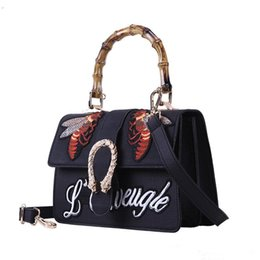 Wholesale Double Slots - Famous designer brand bags women Embroidered bee letter handbags vintage Shoulder Bag Woman Messenger Bag Double snake head Tote