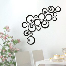 Wholesale Wall Decals Circles - Hot Sales 24Pcs Circles Wall Stickers Mirror Style Removable Decal Vinyl Art Mural Wall Sticker Home Adesivo De Parede