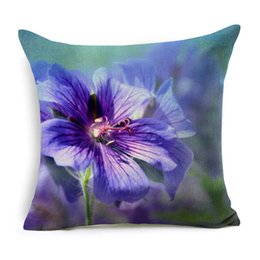 Wholesale pink flower pillow case - Natural Plants Flowers Cushion Cover Pattern Pillow Case 45cm * 45cm Polyester Cotton Square Pillow Home Textile
