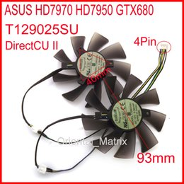 Wholesale Graphics Cards Asus - Wholesale- 2pcs Lot EVERFLOW T129025SU 93mm 40*40*40mm 12V 0.38A 4Pin For ASUS HD7970 HD7950 GTX680 DirectCU II Graphics Card Fan