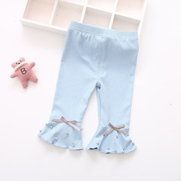 Wholesale Wholesale Bell Bottom Leggings - Summer Pure Cotton Baby Girl cropped trousers Childrens Girl Kids leggings bell-bottoms flared pants 5 pcs wholesale