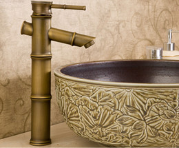 Wholesale Antique Brass Widespread Faucet - antique brass bamboo faucet art faucet archaize faucet
