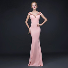 Wholesale Evening Thin Dresses - Pink formal Dress Long sleeve Fund Self-cultivation Thin Lady Of Quality Banquet Cocktail Full Evening dresses Party 48 hour shipping