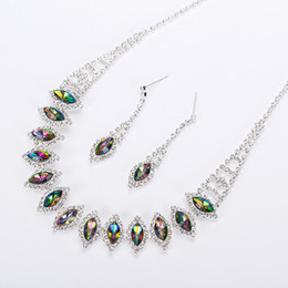 Wholesale Indian Jewellery Free Shipping - 2017 New silvery Plated Multicolor Austrian Crystal Chain Necklace + Earrings Jewelry Sets Free shipping Women Jewellery