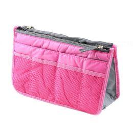 Wholesale Large Dark Brown Bag - Women Lady Organizer Organiser Travel Bag Purse Handbag Insert Large Tidy Makeup 3 Color