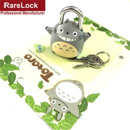 Wholesale Mini Padlocks - Wholesale- Rarelock Mini Padlock Totoro Chinchilla Lock Same for Men Women Pair with Travelling Sport Luggage Bag Backpack Handbag DIY f