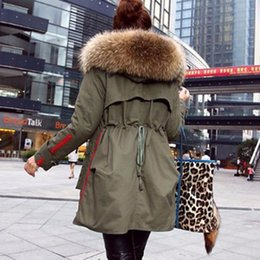 Wholesale Cotton Lined Coats - New 2017 Winter Jacket Women Coats Real Large Raccoon Fur Collar Female Parka Army Green Thick Cotton Padded Lining Ladies #E972