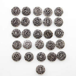 Wholesale Tin Channel Letters - Wholesale 26pcs Lots A to Z English Letters Ginger Snaps Charm Button Fit Noosa Diy Ginger Snap Jewelry