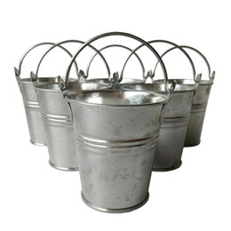 Wholesale Cheap Pails - D7*H7CM Free shipping Cheap Metal Buckets candy box Wedding Buckets Small Pails Flower pot for Event & Party Supplies