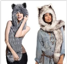 Wholesale Husky Winter Hats - Wholesale-2017 Winter Husky Faux Fur Full Animal Hood Hoodie Hat 3-in-1 Mittens Gloves Scarf Spirit Paws Ears Christmas Gift
