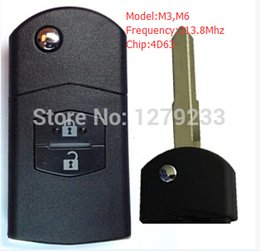 Wholesale Mazda Key Chip - 2 Buttons Uncut Car Flip Folding Remote Key 313.8Mhz With 4D63 Chip Inside For Mazda 3, 6 Free Shipping