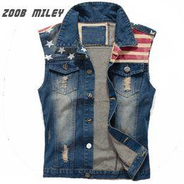 Wholesale flag denim jacket - Wholesale- New Men's Denim Vest Vintage Frayed Cowboy Jeans Waistcoat Fashion Sleeveless Jackets Star Flag Printed Tanks Plus Size M-3XL