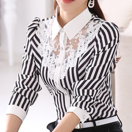Wholesale women striped button down shirt - New Women Lace Blouses Spring Autumn Turn-Down Collar Long Sleeve Striped Shirt Casual Fashion OL Work Tops Plus Size