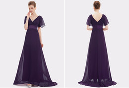 Wholesale Evening Dress Padded - Evening Dresses Padded Trailing Flutter Sleeve Long Women Gown 017 New Chiffon Summer Style Special Occasion Dresses