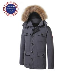 Wholesale Coats Racoon Fur Collar - 2017 Brand New Mens thick Goose Down Banff Parka Coat Winter Warm Jacket Fire Rhinoceros with removable racoon fur jacket
