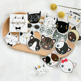 Wholesale Stationery Gift Boxes Wholesale - Wholesale- 45pcs box Kawaii Cartoon Cat Stationery Sticker Memo Pad Decor Diary Scrapbook Planner Juornal Stickers Gift Packing Lable