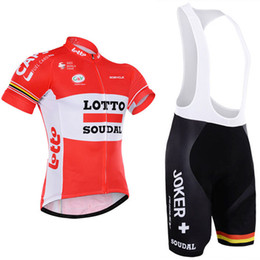 Wholesale Lotto Jersey - 100% polyester quick dry team pro cycling wear 2017 lotto cycling jersey gel bike shorts set mens ummer cycling clothing