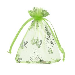 Wholesale Little Green Pouches - MJARTORIA 125PCs Light Green Butterfly Organza Gift Bags Little Pouches For Jewelry Packaging Easy Carrying Drawstring Bag 7x9cm
