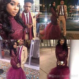 Wholesale Little Girl Art - 2017 Burgundy Mermaid Black Girls Prom Dresses Long Sleeves Illuiosn Formal Evening Gowns Red Carpet Celebrity Runaway Dress Custom Made