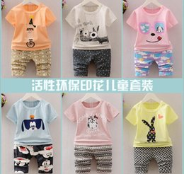 Wholesale Baby Clothes Car Cartoon - 2017 Summer Kids 13 Pattens Children Clothing Set Short-sleeve T-shirt+Shorts Cartoon Car Dog Rabbit Bat Printed Baby Kids Clothes Q0923