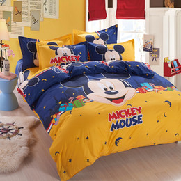Wholesale Sheets For Girls - Wholesale- space mickey boys girls bedding set duvet cover bed sheet pillow case queen full twin size,boutique bed linen for kids