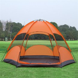 Wholesale Big Tents Camping - Wholesale- Double Layer Camping Tent 5 Person Six Window Mosquito Outdoor Equipment Waterproof Hexagon Tents Big Family Hiking Camping Tent