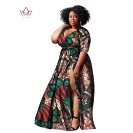 Wholesale Normal Dresses For Women - BRW Bazin Riche African Wax Print Dashiki Dresses Plus Size African Style Clothing for Women Long normal life Dresses WY1169