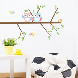 Wholesale Tree Life Wall Decal - DIY Cartoon Cute Owls On The Branches Tree Wall Stickers PVC Removable Home Bedroom Background Decorations Wall Decals Murals
