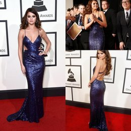 Wholesale Selena Dress - Selena Gomez Spaghetti Strap Sequins Celebrity Evening Dresses Cutaway Sides Mermaid Prom Gowns Sweep Train 58th Grammys Awards