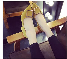 Wholesale Korean Shoes Pumps - 2017 spring and autumn new Korean version of the female thick high-heeled front square buckle suede high heels black shallow mouth with the