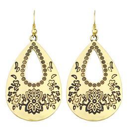 Wholesale Antique Chandelier Earrings - Indian Jewelry Boho Antique Gold with Black Enamel Water Drop Earrings For Women New Fashion Design Jewelry