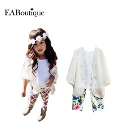 Wholesale Chiffon Girls Pants - Wholesale- EABoutique Fashion Icon Girls outfits Chiffon coat+Vest +Floral Pants clothing sets all for kids clothes and accessories