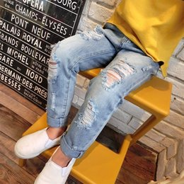 Wholesale Vintage Boy Autumn Fashion - 2017 New Fashion Kids Boys Girls Ripped Jeans Pants Vintage Soft Pockets Spring Summer Fall Fashion Pants Children Clothing