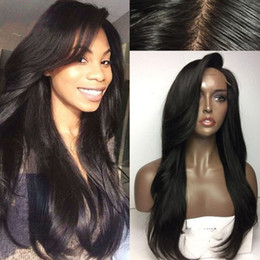 Wholesale New Glueless Full Lace Wig - wholesale 2017 New Fashion Sexy Brazilian Human Hair Glueless Lace Front Wigs Full Lace Human Hair Wig With Bangs for sale