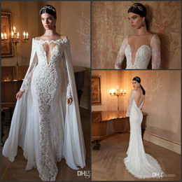 Wholesale gold embellished wedding dress - 2017 Sexy Berta Mermaid Wedding Dresses with Capes Sleeve Detachable Chiffon Cape V-neck Long Sleeve Sheer Back Lace Embellished